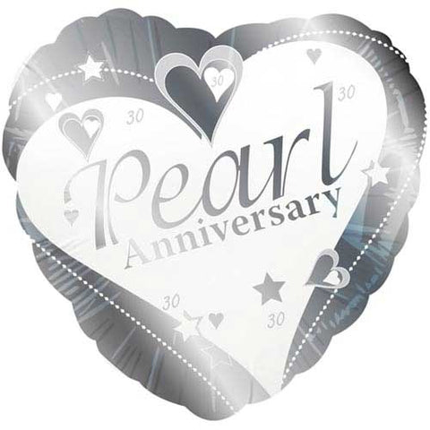 18 inch Pearl Anniversary Heart Shaped Foil Balloon
