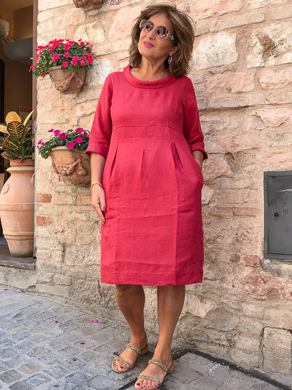 100% Linen ring collar dress
