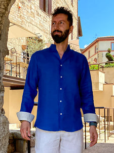 Men's shirt with Korean collar 100% Linen