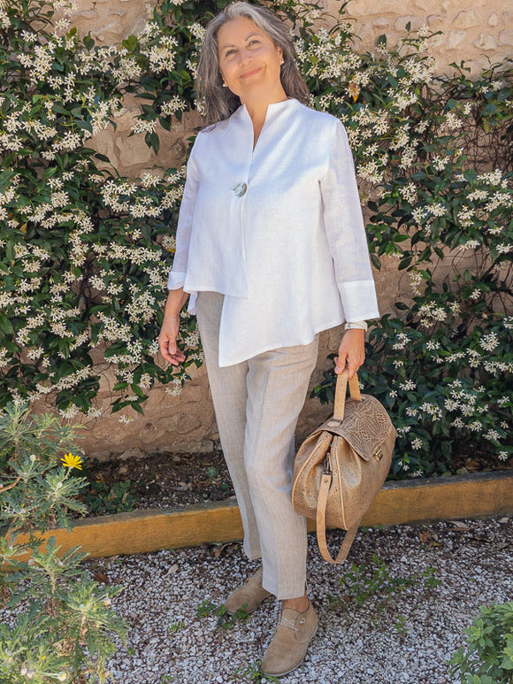 100% Linen asymmetrical jacket