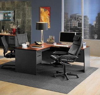 Leather and mesh office chairs at desk