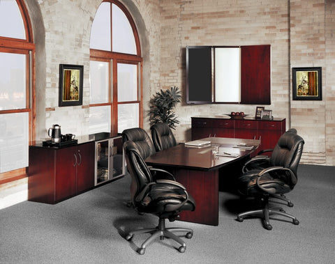 Leather executive chairs around a conference table