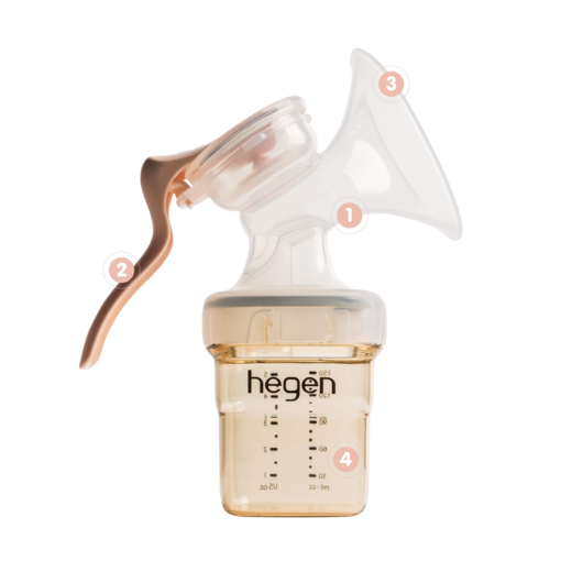 Manual Breast Pump attached to bottle with four areas highlighted