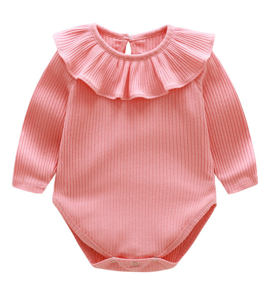 Ribbed Long Sleeve Ruffle Onesie