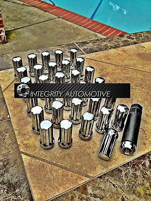 32 CHROME SPLINE LUG NUTS 8x6.5 | 9/16 THREAD | DODGE RAM FORD F-250 CHEVY 2KEYS - Wheel Adapters USA
