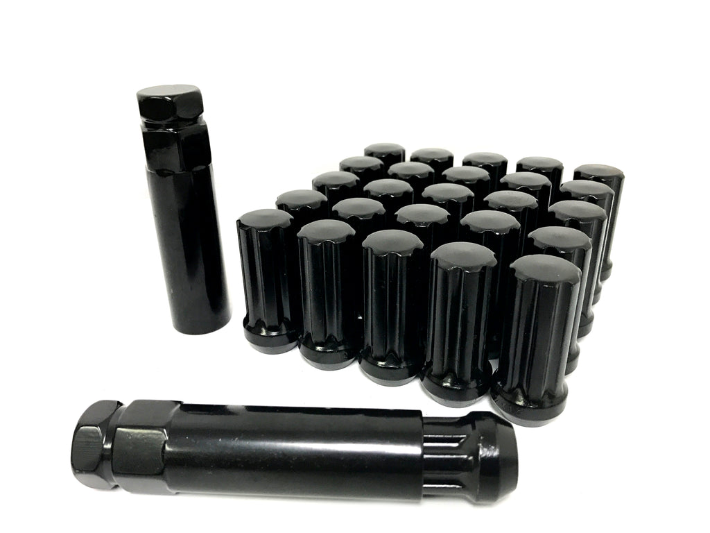 32 BLACK SPLINE LUG NUTS 9/16-18 | FITS 8 LUG DODGE RAM AFTERMARKET 8X6.5 WHEELS