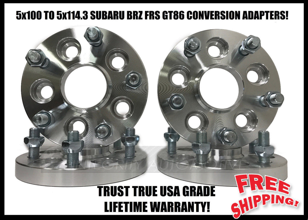 5X100 TO 5X114.3 25MM WHEEL ADAPTERS HUB CENTRIC SUBARU BRZ FR-S TOYOTA 86 5X100 TO 5X4.5 1 INCH THICK
