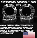 2X 6x139.7 Wheel Spacers 1.5 Inch Thick 14x1.5 Studs Fits Most Chevy GMC Cadillac 6 Lug Trucks Silverado 1500 Sierra, Suburban, Tahoe, Escalade