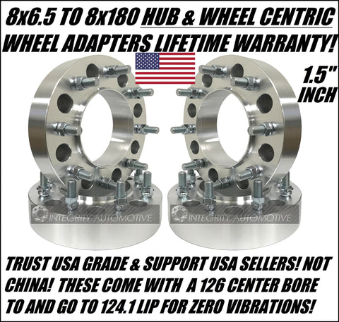 8X6.5 To 8X180 Wheel Adapters Spacers Hubcentric | 1.5 Inch Thick 14X1.5 Studs | 8X165.1 To 8X180