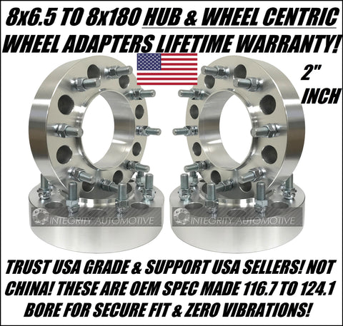 8X6.5 To 8X180 2 Inch Wheel Adapters Spacers Hubcentric | 50mm Thick 14X1.5 Studs | 8X165.1 To 8X180