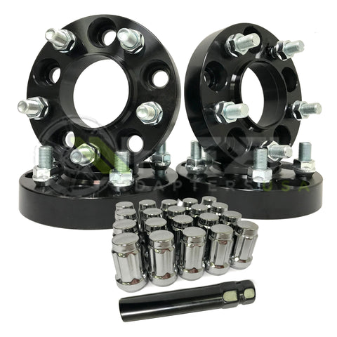 5X4.5 To 5X5 Jeep Wheel Adapters Hub Centric + 20 Chrome Spline Lug Nuts - Adapts Jeep Jk Wheels On Tj Yj Kk Sj Xj Mj 5X114.3 To 5X127 (black)
