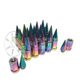 "20 Neo Chrome Spike Jeep Lug Nuts 1/2""x20 Fits All Jeep JK Tj Yj Wrangler, Rubicon, Sahara Cj Anti Theft Locking Lugs"