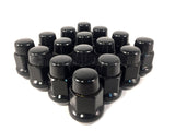 20 BLACK LUG NUTS | 12X1.5 | CLOSED END BULGE ACORN | 5X4.5 | 5X114.3