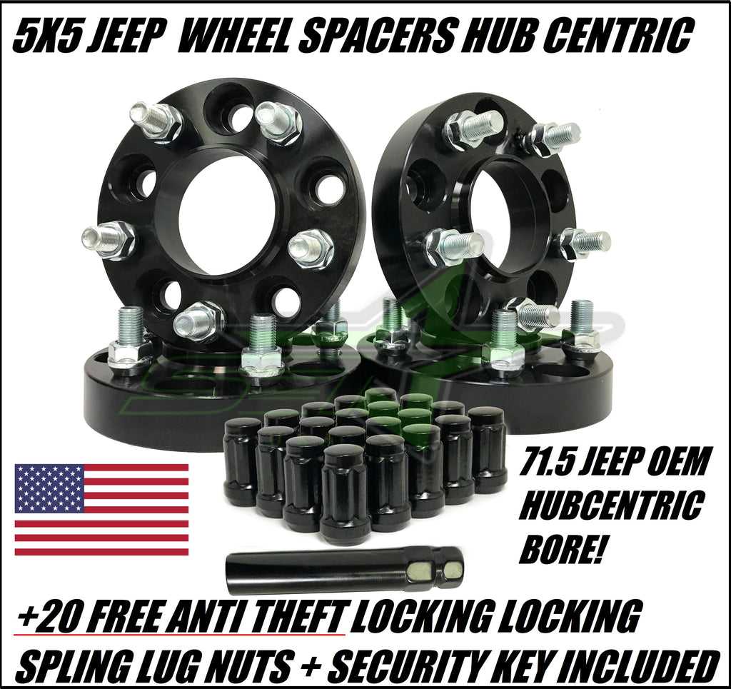 5X5 Jeep Wheel Spacers Adapters Fits Wj Wk Jk Xk 1.25 Inch Thick 5X127 + Free Spline Lug Nuts!