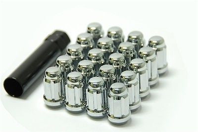 20 X Spline Lug Nuts | +1 Key | Fits Most Jeep | 1/2 Inch | High Polish Chrome | - Wheel Adapters USA