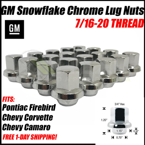 GM Snowflake OEM Style Chrome Lug Nuts 7/16 Fits Pontiac Firebird Chevy Corvette Camaro Mag Style Wheels!