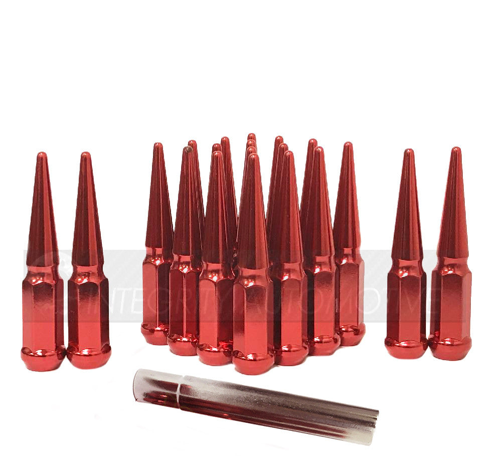 24 RED SPIKE EXTENDED TRUCK LUG NUTS | 14X2.0 FORD NAVIGATOR F-150 EXPEDITION