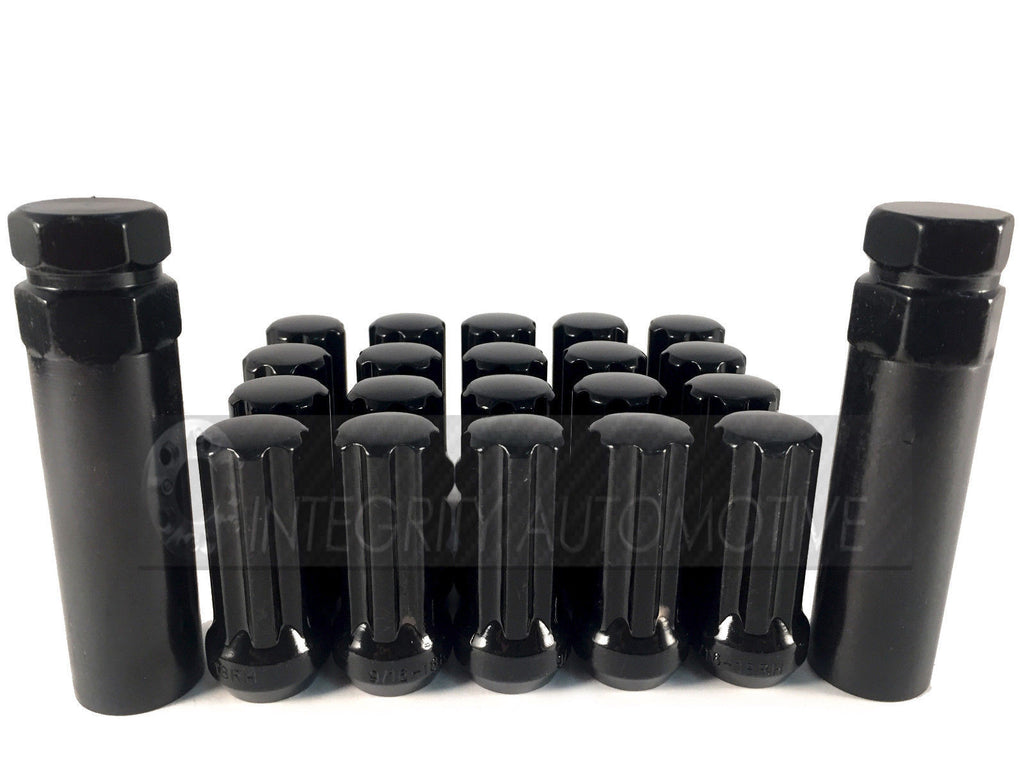 32 BLACK SPLINE LUG NUTS +2 KEYS | 14X1.5 | CHEVY GMC | SILVERADO HUMMER | 8X6.5 - Wheel Adapters USA - 1