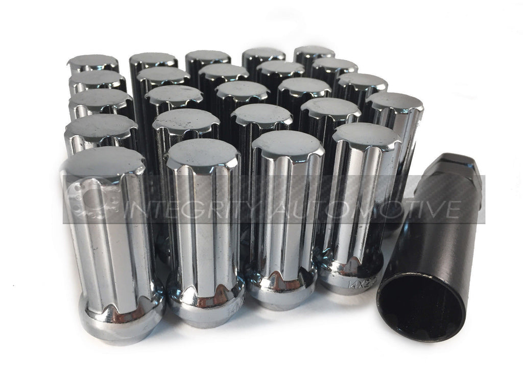 32 CHROME 7 SPLINE LOCKING WHEEL LUG NUTS | 14x1.5 | FOR GMC HUMMER CHEVY + KEY - Wheel Adapters USA - 1