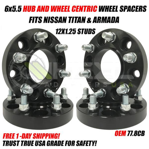 6X5.5 Nissan Wheel Spacers Hub Centric For Armada Titan Trucks 12x1.25 Studs 77.8cb