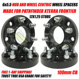 6X5.5 Nissan Wheel Spacers Hub Centric For Pathfinder Xterra Frontier Trucks 12x1.25 Studs 100mm CB