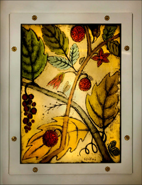 Grapes and Salmonberry wall panel
