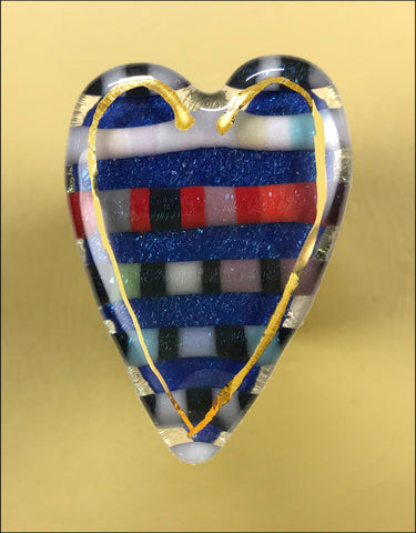 Striped Heart pin