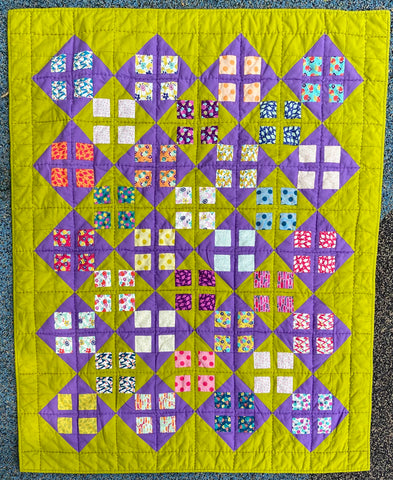 window pane quilt set in purple and green