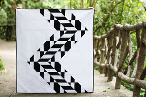 "Larger scenic photo of ""Tire Tracks"" quilt by Yvonne Fuchs as Quilting Jetgirl photo by Kitty Wilkin @nightquilter"