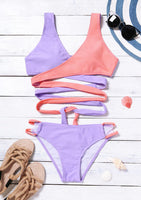 Multicolor Color Block Women's Splicing Tie Bikini 2 Piece Set - Gmbu Apparel
