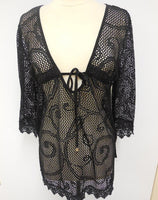 Spiaggia Dolce Black Lace Cover Up Tunic Dress - Gmbu Apparel