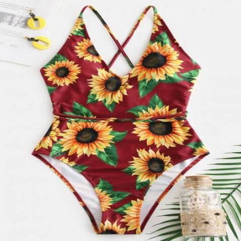 Womens Burgundy Sunflower V-Neck Hollow Out One-Piece Swimsuit - Gmbu Apparel