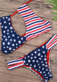 Womens 2 Piece American Flag Hollow Out Top Bikini Set - Gmbu Apparel