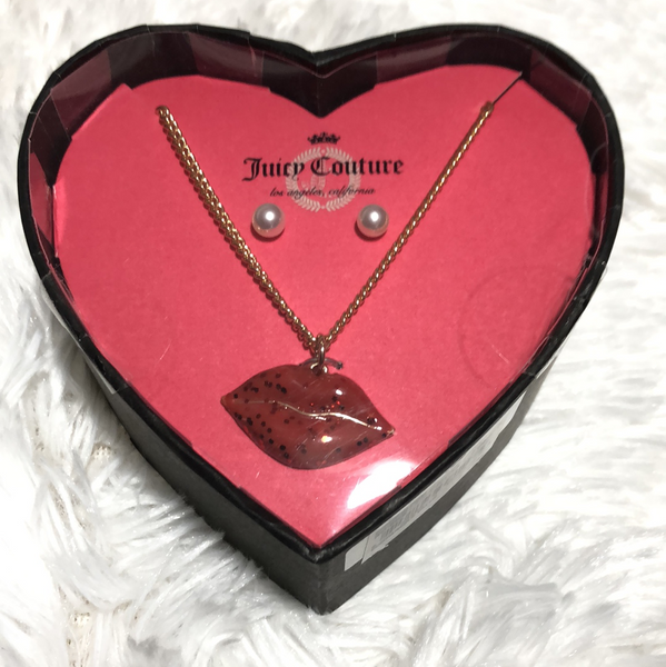 Juicy Couture Heart Shape Pendant Necklace & Faux Pearl Earrings Gift Set - Gmbu Apparel
