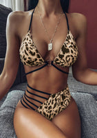 Womens Leopard 2 Pc Large Hollow Out Halter Tie Bikini Set - Gmbu Apparel