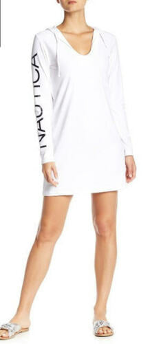 Women's White Nautica Graphic Long Sleeve Hooded Cover Up Swimwear - Gmbu Apparel