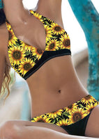 Womens Large Yellow Sunflower Splicing Halter 2 Pc Bikini Set - Gmbu Apparel