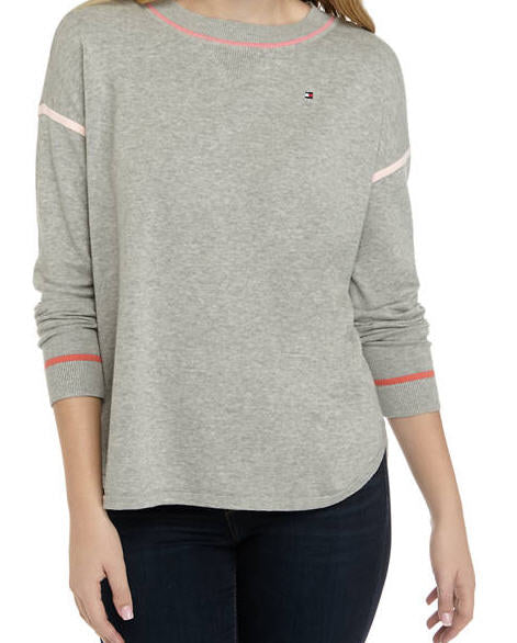 Tommy Hilfiger Women's Grey / Pink Tipped Sweater - Gmbu Apparel