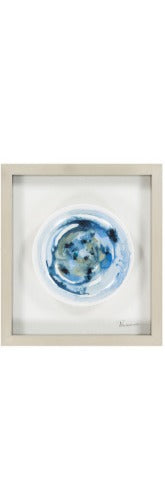 Framed Ceramic Plate - Blue Swirl