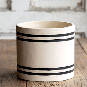Striped Cement Planter, large