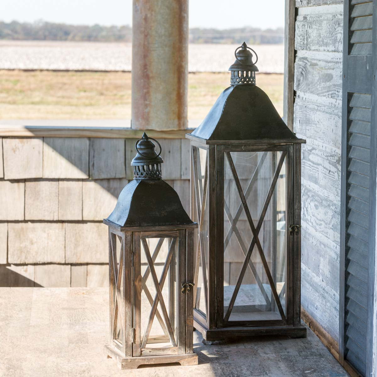 Stained Wood and Metal Lantern - Small