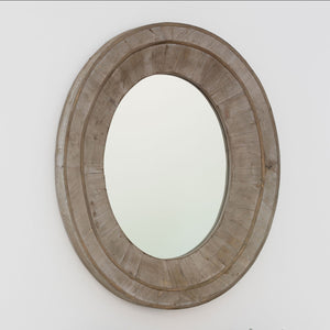 Reclaimed Wood Oval Mirror