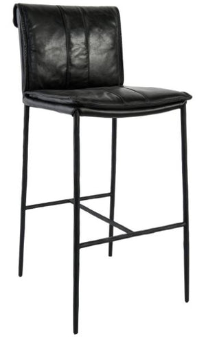 "Mayer Bar Stool - 30"" in Black Leather"