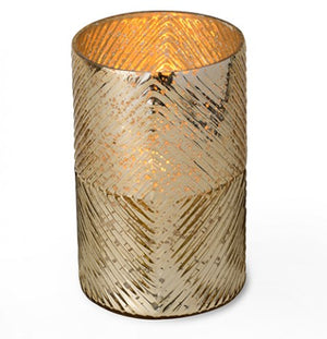 Gold Ribbed Hurricane Glass Candle