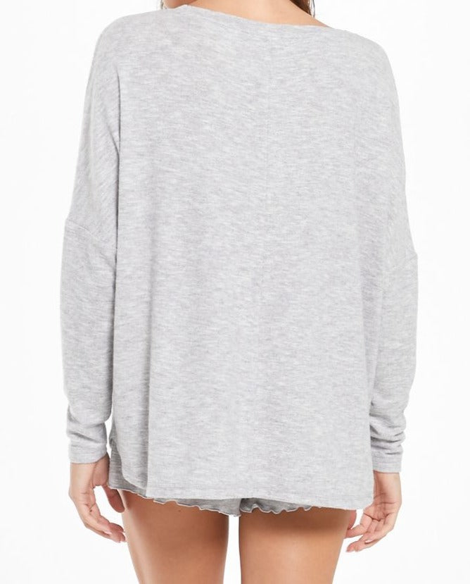 Hang out Long Sleeve Top Heather Grey