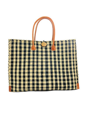 Zafran Gingham Straw Beach Bag
