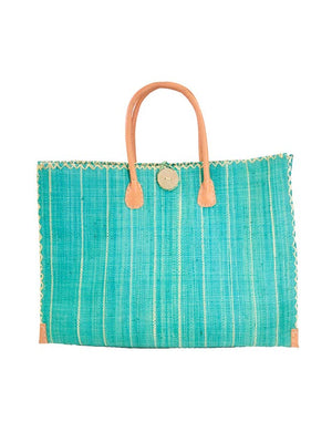Zafran Pin Stripes Straw Beach Bag