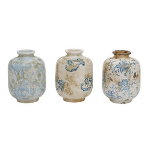 Terra-cotta Vase with Transferware Pattern, Blue/White, 3 Styles
