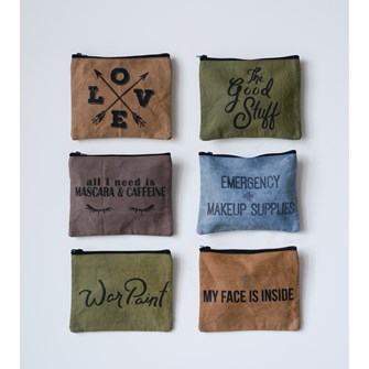 Distressed Cotton Canvas Zip Cosmetic Bag