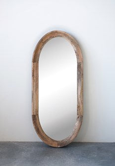 Oval Mango Wood Framed Wall Mirror